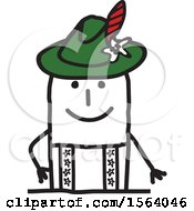 Clipart Of A Happy Stick German Man Royalty Free Vector Illustration
