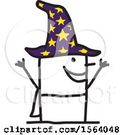 Clipart Of A Happy Stick Wizard Royalty Free Vector Illustration