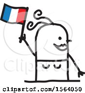 Happy Stick Woman Waving A French Flag
