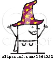 Clipart Of A Happy Stick Witch Royalty Free Vector Illustration