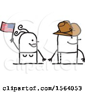 Poster, Art Print Of Happy American Couple With A Flag And Cowboy Hat