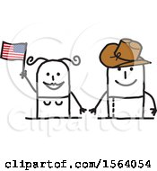 Happy American Couple With A Flag And Cowboy Hat