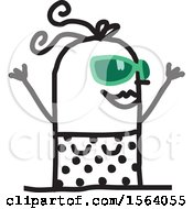 Happy Stick Woman Wearing A Swimsuit And Sunglasses