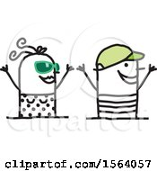 Clipart Of A Happy Summer Time Stick Couple Royalty Free Vector Illustration