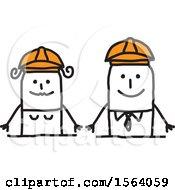 Poster, Art Print Of Happy Stick Engineer Couple