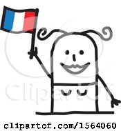 Poster, Art Print Of Happy Stick Woman Waving A French Flag