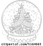 Clipart Of A Lineart Christmas Tree Snow Globe Royalty Free Vector Illustration