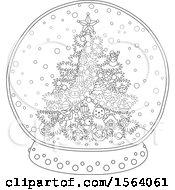 Lineart Christmas Tree Snow Globe