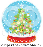 Clipart Of A Christmas Tree Snowglobe Royalty Free Vector Illustration