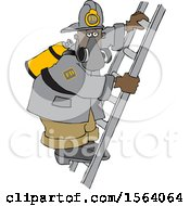 Clipart Of A Black Male Fire Fighter On A Ladder Royalty Free Vector Illustration