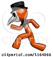 Orange Plague Doctor Man Running Fast Left