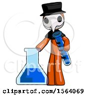 Orange Plague Doctor Man Holding Test Tube Beside Beaker Or Flask