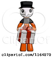 Orange Plague Doctor Man Gifting Present With Large Bow Front View