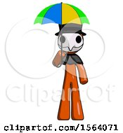 Orange Plague Doctor Man Holding Umbrella Rainbow Colored