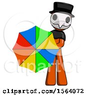 Orange Plague Doctor Man Holding Rainbow Umbrella Out To Viewer