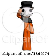 Orange Plague Doctor Man Soldier Salute Pose