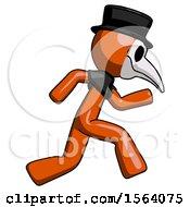 Orange Plague Doctor Man Running Fast Right