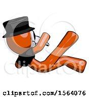 Orange Plague Doctor Man Falling Backwards