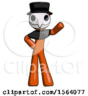Orange Plague Doctor Man Waving Left Arm With Hand On Hip