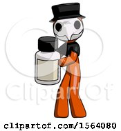 Orange Plague Doctor Man Holding White Medicine Bottle