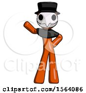 Orange Plague Doctor Man Waving Right Arm With Hand On Hip