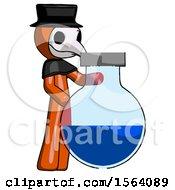 Orange Plague Doctor Man Standing Beside Large Round Flask Or Beaker