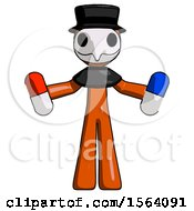 Orange Plague Doctor Man Holding A Red Pill And Blue Pill