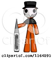 Orange Plague Doctor Man Standing With Large Thermometer