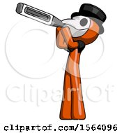 Orange Plague Doctor Man Thermometer In Mouth
