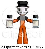 Orange Plague Doctor Man Holding Two Medicine Bottles