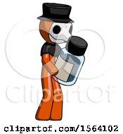 Orange Plague Doctor Man Holding Glass Medicine Bottle