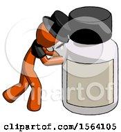 Orange Plague Doctor Man Pushing Large Medicine Bottle