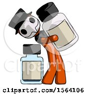 Orange Plague Doctor Man Holding Large White Medicine Bottle With Bottle In Background