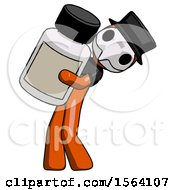 Orange Plague Doctor Man Holding Large White Medicine Bottle