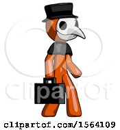 Orange Plague Doctor Man Walking With Briefcase To The Right
