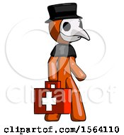 Orange Plague Doctor Man Walking With Medical Aid Briefcase To Right
