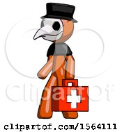 Orange Plague Doctor Man Walking With Medical Aid Briefcase To Left