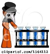 Orange Plague Doctor Man Using Test Tubes Or Vials On Rack