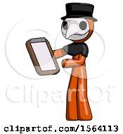 Orange Plague Doctor Man Reviewing Stuff On Clipboard