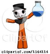 Orange Plague Doctor Man Holding Large Round Flask Or Beaker