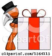 Orange Plague Doctor Man Gift Concept Leaning Against Large Present