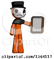 Orange Plague Doctor Man Showing Clipboard To Viewer