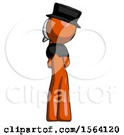 Orange Plague Doctor Man Thinking Wondering Or Pondering Rear View