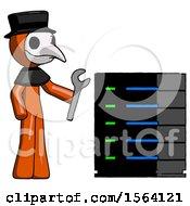 Orange Plague Doctor Man Server Administrator Doing Repairs