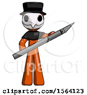 Orange Plague Doctor Man Holding Large Scalpel