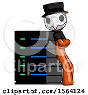 Orange Plague Doctor Man Resting Against Server Rack Viewed At Angle