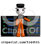 Orange Plague Doctor Man With Server Racks In Front Of Two Networked Systems