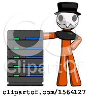 Orange Plague Doctor Man With Server Rack Leaning Confidently Against It