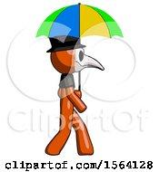 Orange Plague Doctor Man Walking With Colored Umbrella