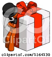 Orange Plague Doctor Man Leaning On Gift With Red Bow Angle View
